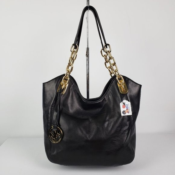 Michael Kors Black & Gold Leather Purse